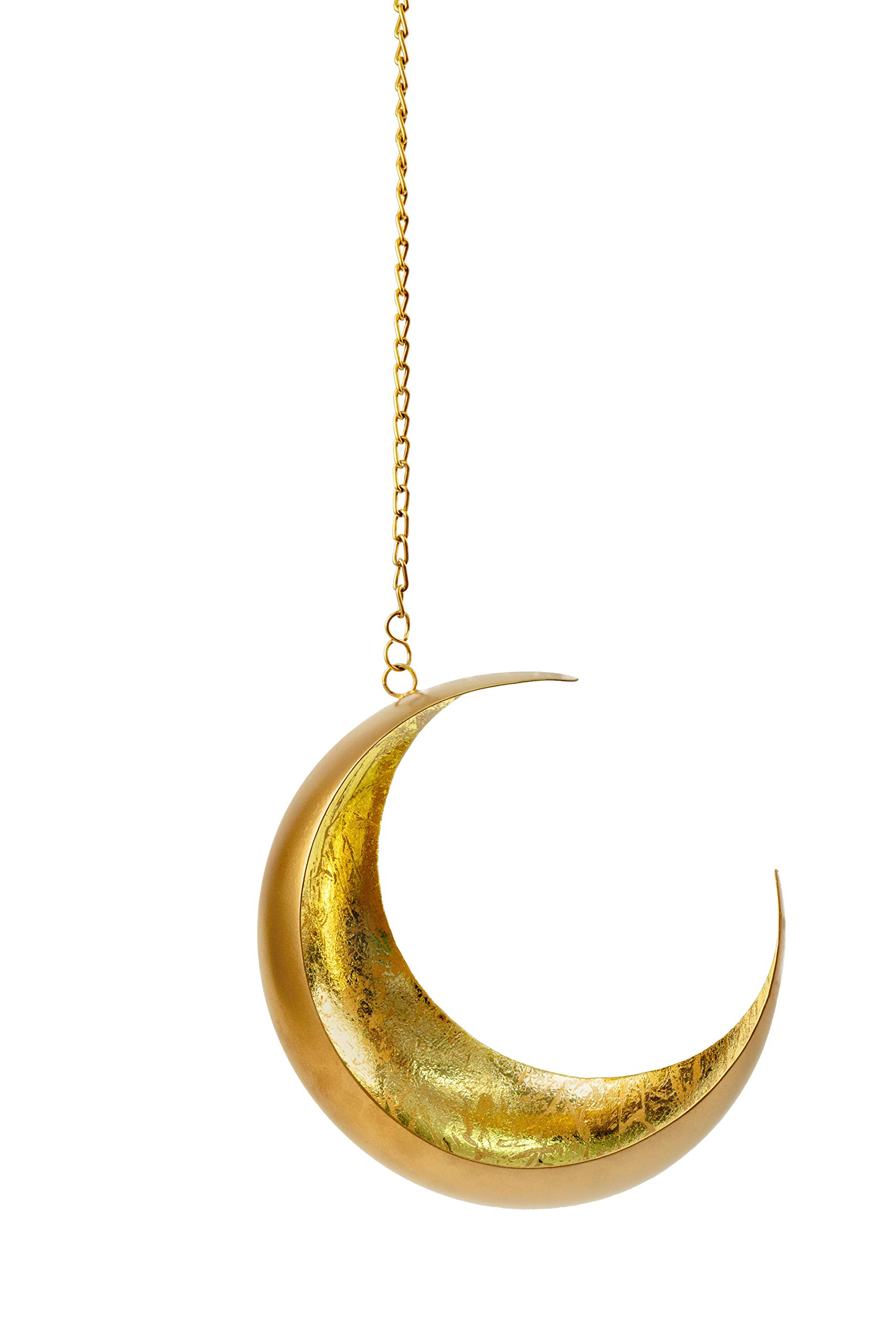 Jazzy Soul Moon Decor Art Hanging - Boho Shabby Chic Home Decor Eclectic Accessory: Votive Tea Candle Holder, Cone Incense Burner, Metal Plant Hanger and Nursery Wall Design