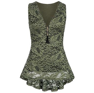 4d774feb052 TUDUZ Women Vest Tops Ladies Summer Floral Lace Zip Up Tank Top Sleeveless  Slim Pure Camisole T Shirts Blouses: Amazon.co.uk: Clothing