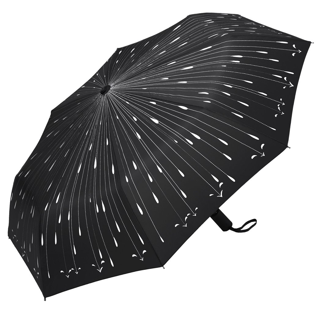 PLEMO Fancy Raindrops Automatic Folding Travel Umbrella Auto Open and Close, Black UA_08