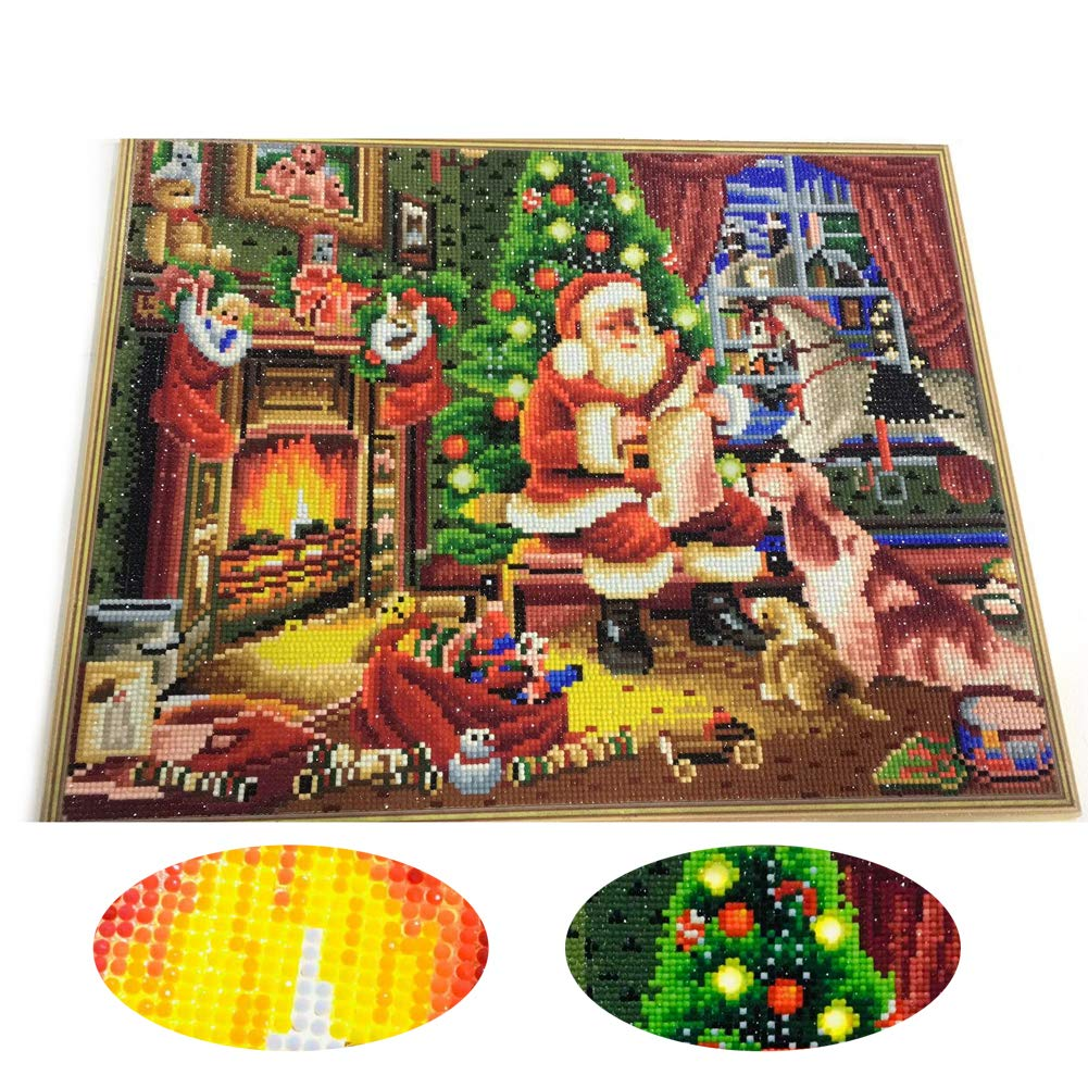 LIPHISFUN Framed LED Crystal Art Kit Diamond Painting by Numbers Kits for Adults Embroidery Cross Stitch Christmas Decor(Santa Claus,40x50cm)
