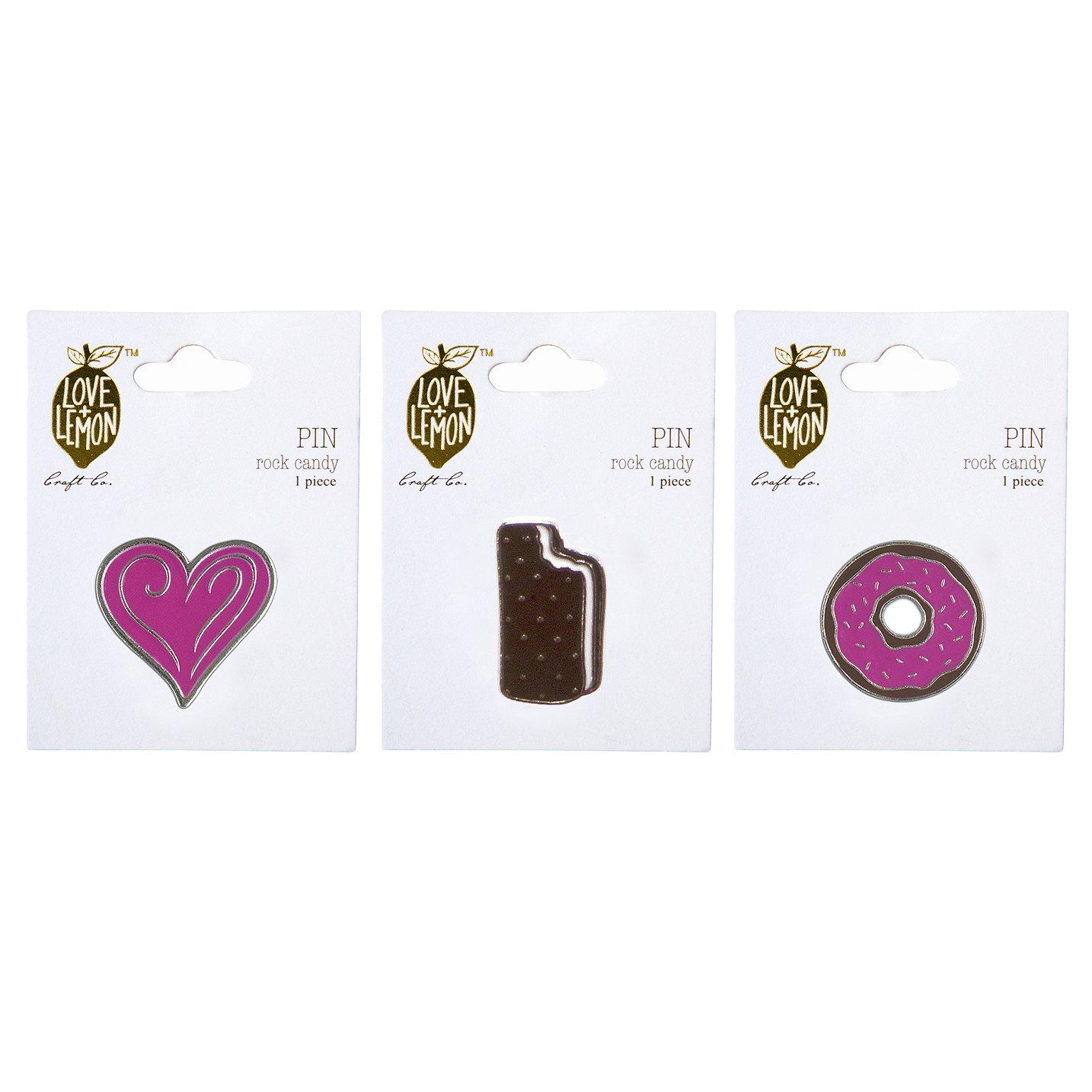 Love+ Lemon Rock Candy Enamel Lapel Pin Set - 3 Pieces