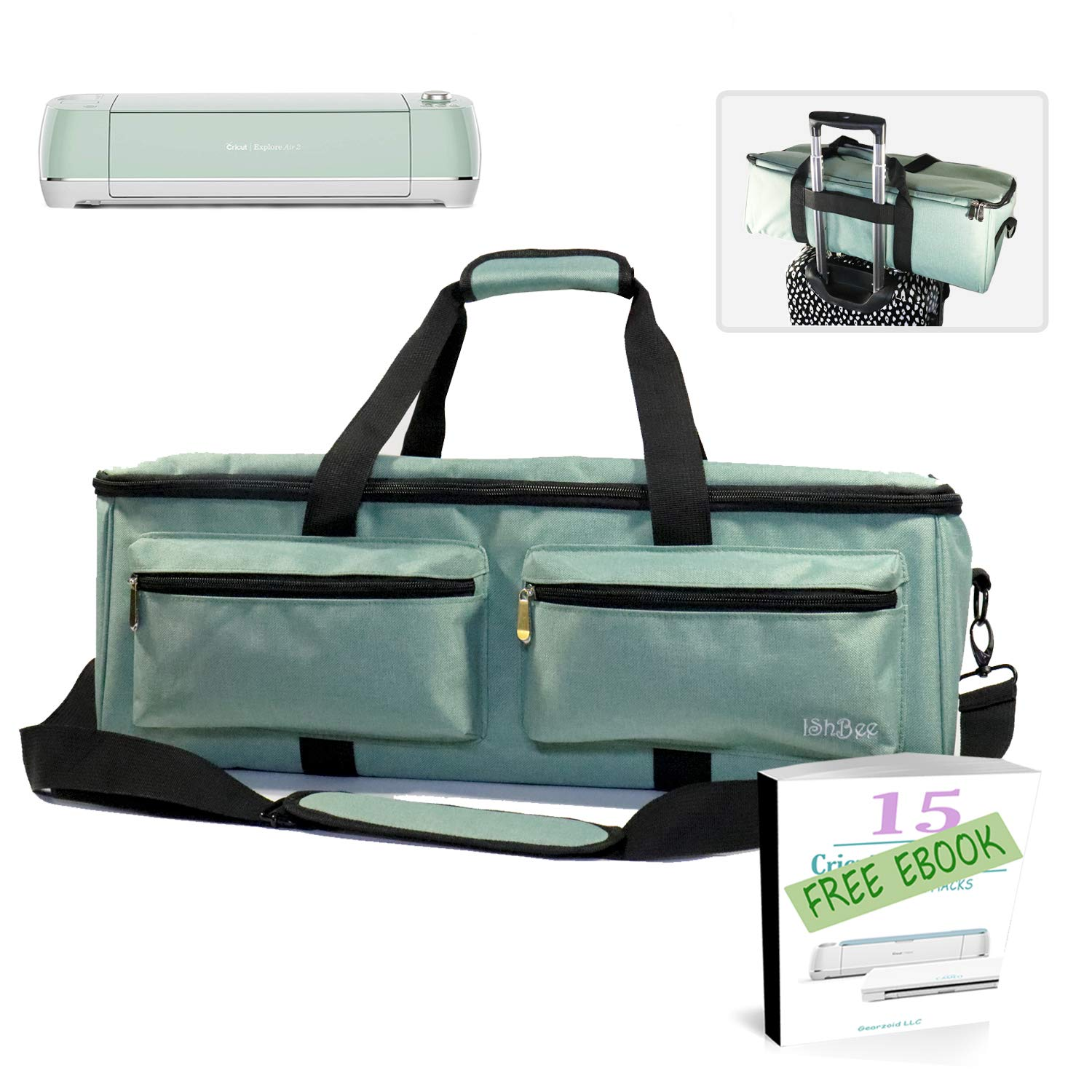 ISHBEE Mint Cricut Carrying Case Nylon Accessories Bag with Ebook|Heavy-Duty Zippers| 5mm Protective padding Compatible with Cricut Maker, Cricut Explore Air, Cricut Explore Air 2 & Silhouette Cameo 3