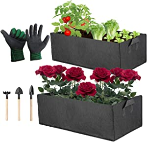 2 Pack Large Non-woven Fabric Grow Bags for Flowers, Raised Garden Bed for Vegetables, Fabric Pot Container for Balcony, Rectangular Planter Bag Outdoor, Portable Planting Pouch with Reinforced Handle