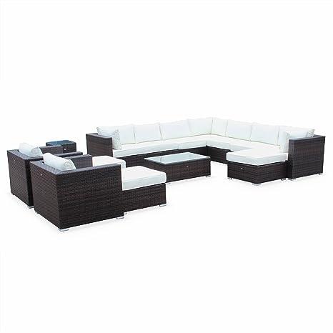 Alices Garden - Mueble de Jardin, Conjunto Sofa de Exterior, Ratan Sintetico, Resina Trenzada - Marron/Marron, Cojines Crudo - 13 plazas - Tripoli
