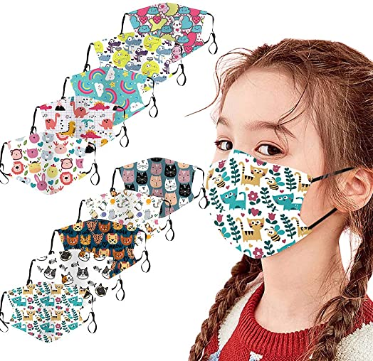Henwerd 10PC Reusable Washable Face Cotton, Fashion Protective Comfy Breathable Dustproof Cartoon Face Cotton Fabric for Kids C-1,10PC