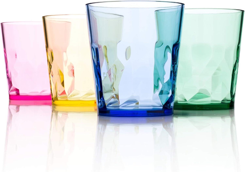 SCANDINOVIA - 8 oz Unbreakable Premium Juice Glasses - Set of 4 - Tritan Plastic Tumbler Cups - Perfect for Gifts - BPA Free - Dishwasher Safe - Stackable