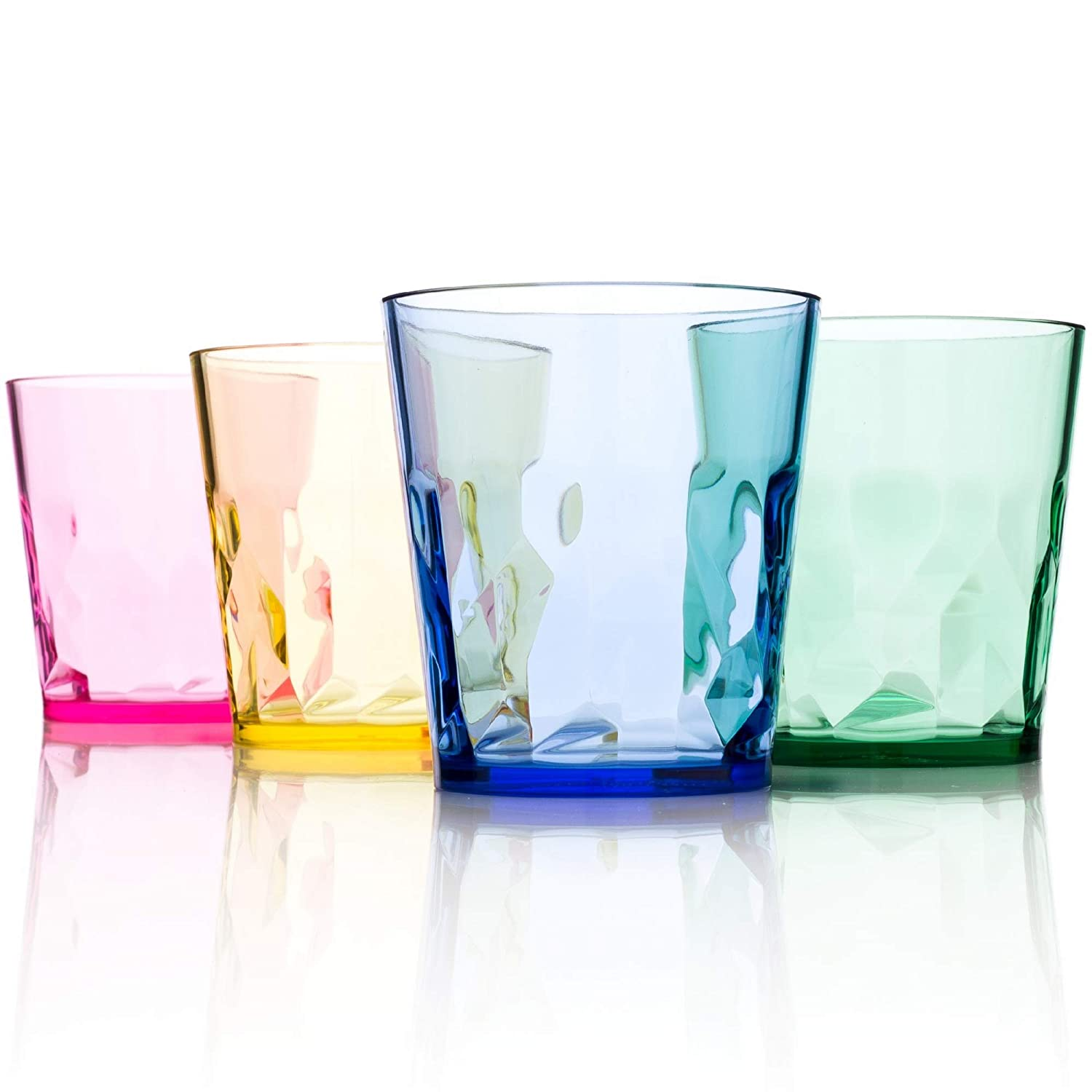 8 oz Unbreakable Premium Juice Glasses - Set of 4 - Tritan Plastic Cups - BPA Free - 100% Made in Japan (Assorted Colors)