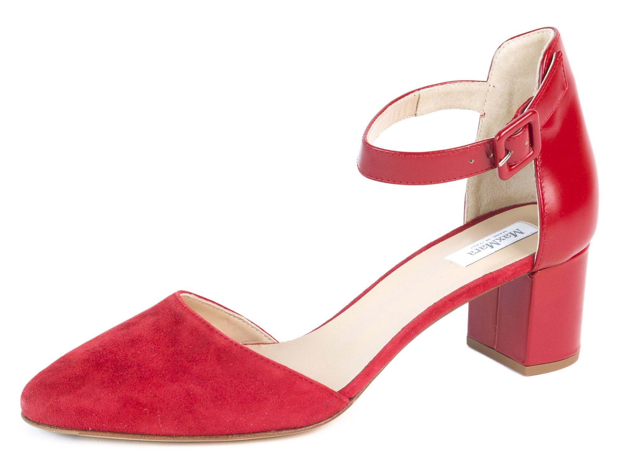 MaxMara Women's Aerosi Suede Block Heel Pumps US 7/IT 37 Red