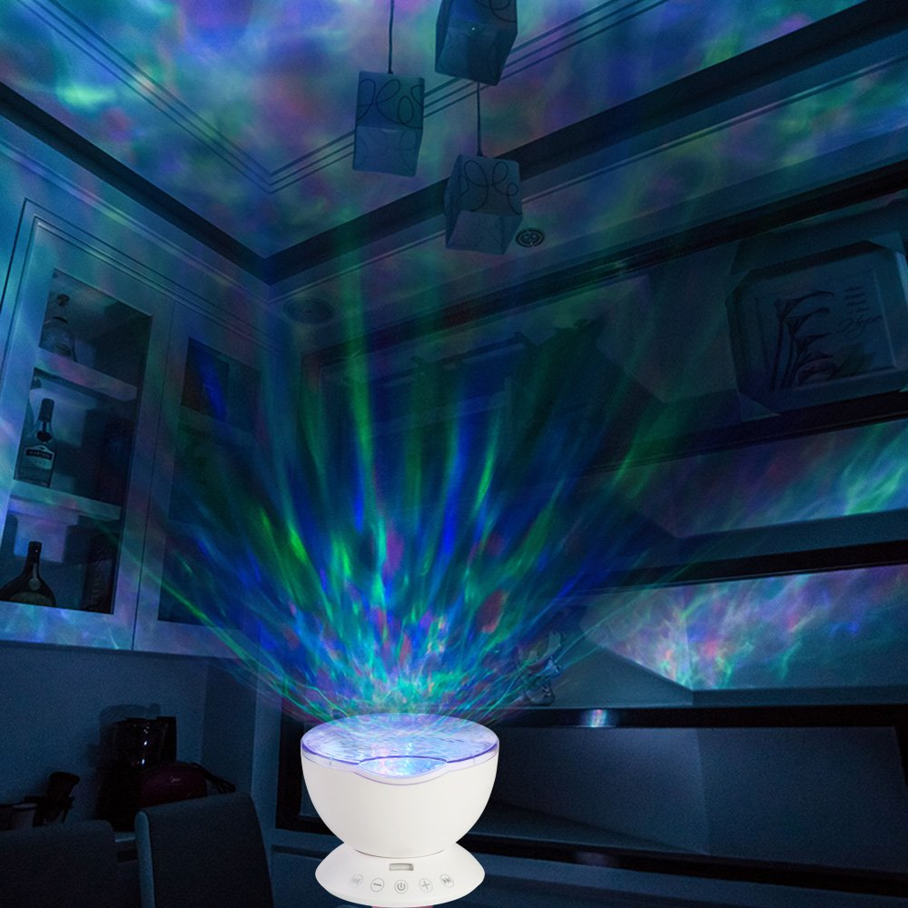 [Upgraded Model] Lobkin Remote Control Ocean Wave Projector ,Aurora Night Light Projector with Build-in Speaker, Mood Light for Baby Nursery, Adults and Kids Bedroom, Living Room (White)