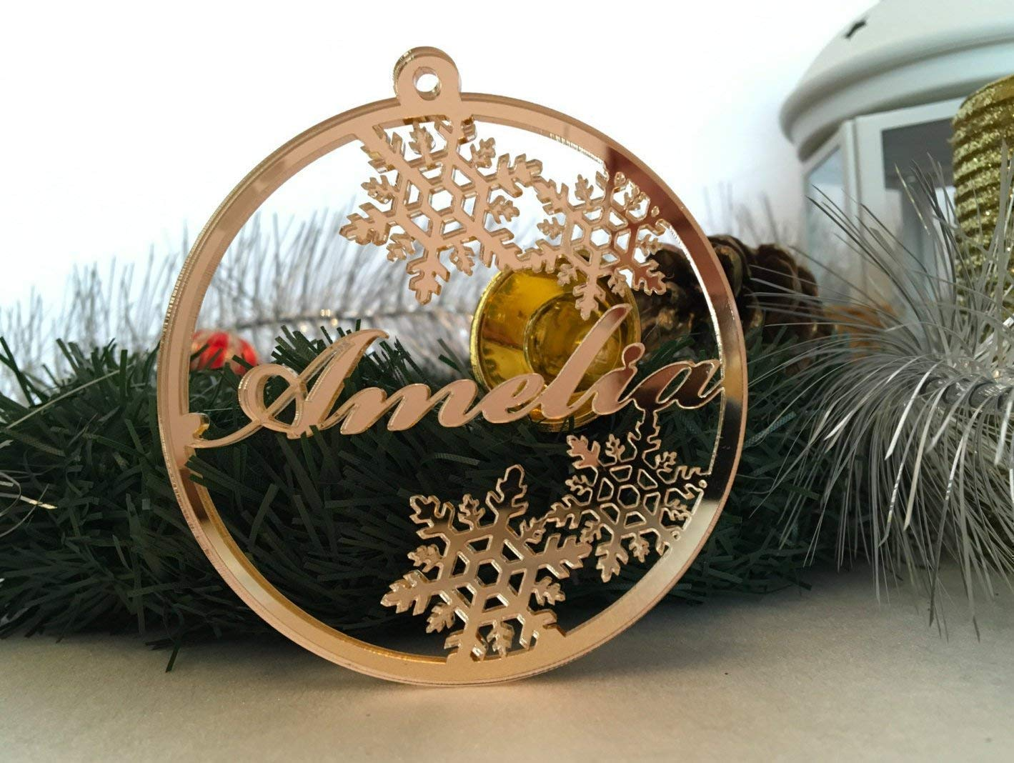 Personalised Christmas Ornament, Laser Cut Bauble, Custom Name Bauble, Babys First Christmas, Xmas Gift, Gold Acrylic Tree decorations Snowflake Ornament Personalised Tag Home Decoration