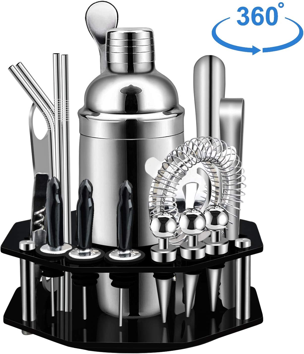 X-cosrack Bar Set,19-Piece Cocktail Shaker Set with Octagon Rotating Display Stand,SS304 Stainless Steel Premium Bartender Kit for Home,Bar,Party,Pefect Gift Choice