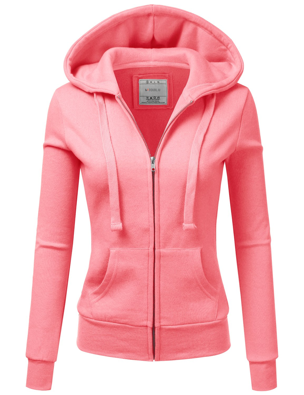 Doublju Lightweight Thin Zip-up Hoodie Jacket for Women with Plus Size NEONPINK Medium