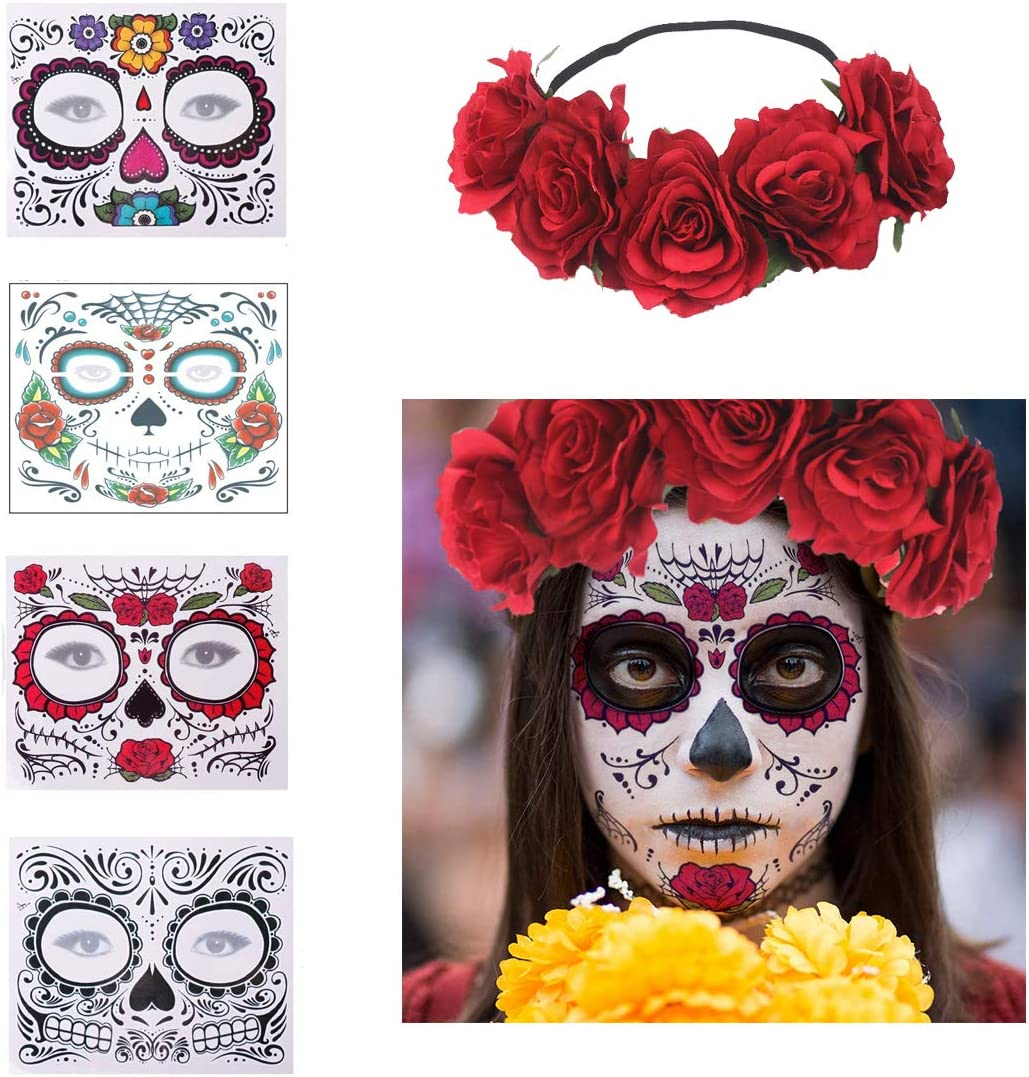 4 Pcs Day of The Dead Sugar Skull Face Temporary Tattoo Halloween Makeup Tattoo Stickers for Halloween Masquerade Party with 1 Rose Red Flower Crown Headband