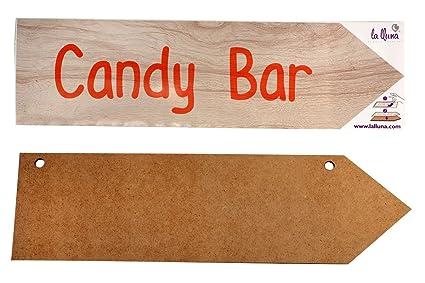 Flecha de madera con vinilo adhesivo con frase CANDY BAR 50 ...
