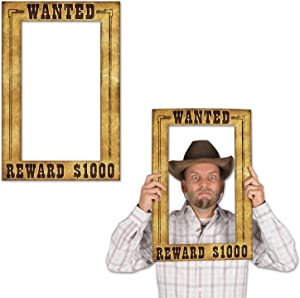 "Beistle Wanted Photo Booth Fun Selfie Frame Western Party Supplies, 15.5"" x 23.5"", Multicolored"