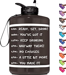HydroMATE Half Gallon 64 oz Motivational Water Bottle with Time Marker Large BPA Free Jug with Handle Reusable Workout Gym Fitness Bottle with Straw Track Intake & Drink More Water Hydro MATE 64oz