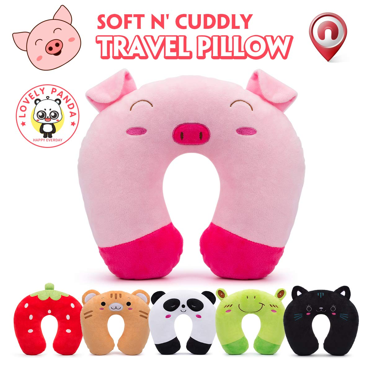 Travel Pillow for Kids Toddlers - Soft Neck Head Chin Support Pillow, Cute Animal, Comfortable in Any Sitting Position for Airplane, Car, Train, Machine Washable, attach luggage, Children gift (Pig)