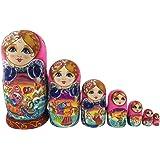 可愛い女の子 ピンクの胴体 童話の模様 マトリョーシカ人形 マトリョーシカ 手業 手塗り 木製品 10個組 誕生日プレゼント 贈り物 子供のおもちゃ 飾り物 置物