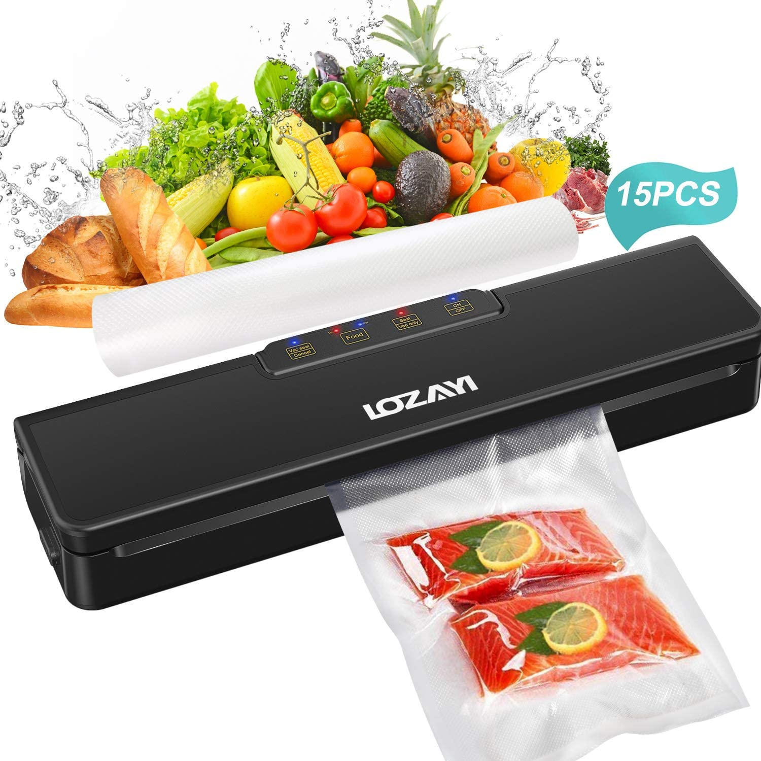 Vacuum Sealer Machine, LOZAYI Automatic Food Sealer for Food Savers/Starter Kit|Led Indicator Lights|Easy to Clean|Dry & Moist Food Modes| Compact Design-15 Pack Bags(Black)