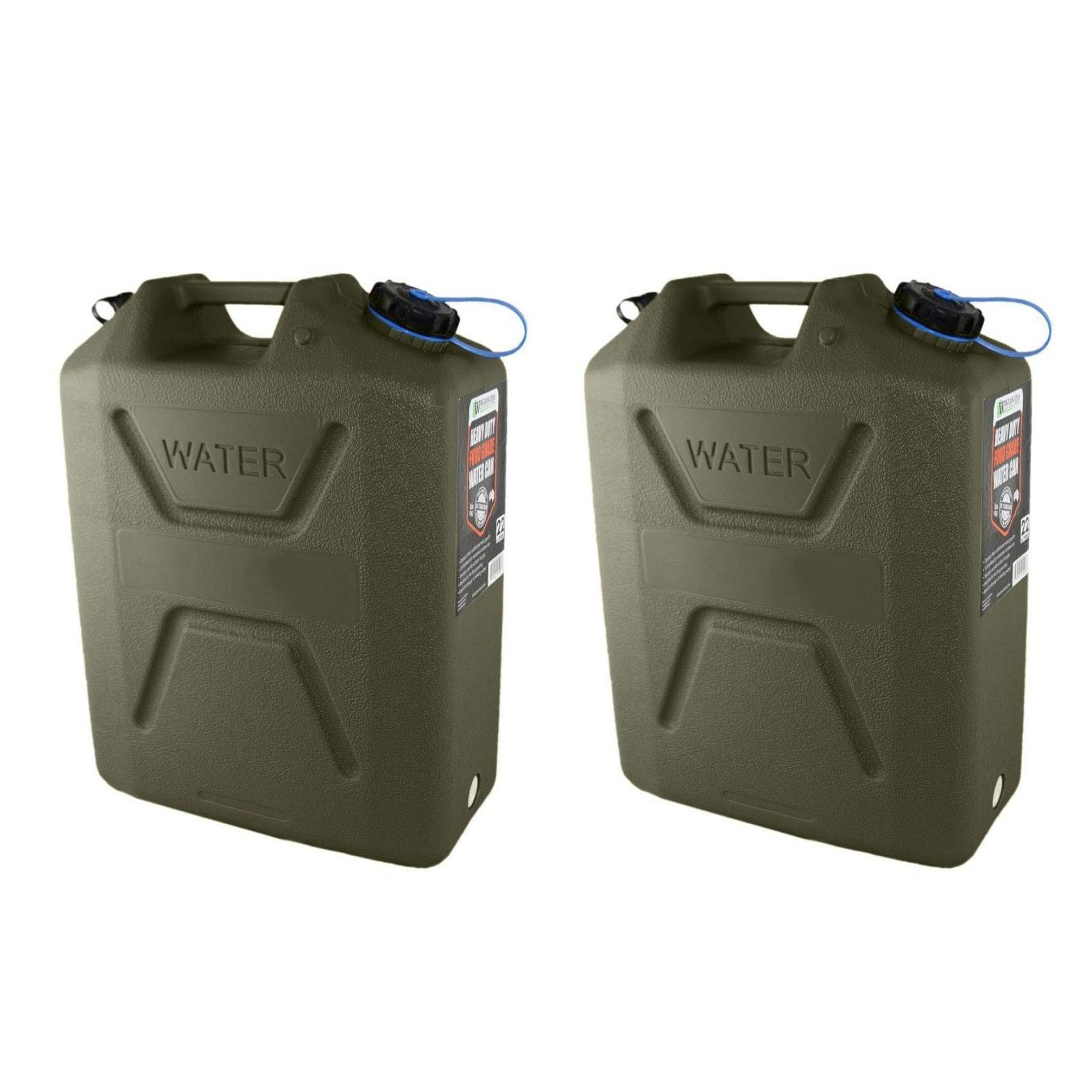 Wavian USA 5 Gallon Plastic Water Jug Can with Easy Pour Spout, Green (2 Pack) by Wavian USA Jerry Cans