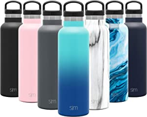 Simple Modern 20oz Ascent Water Bottle - Hydro Vacuum Insulated Tumbler Flask w/Handle Lid - Blue Double Wall Stainless Steel Reusable - Leakproof Ombre: Pacific Dream