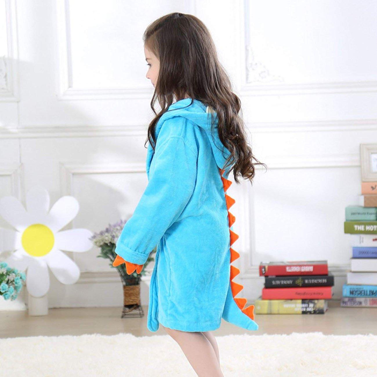 Kids Hooded Cotton Terry Dinosaur Bathrobe Girls Boys Toddler Robe