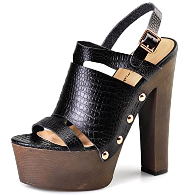 df753f539e8 Amazon.com | Pink Palms Women's Sexy Open Toe Ankle Strap Leather ...