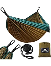 NatureFun Hamaca ultraligera para camping  300kg de capacidad de carga, (275 x 140 cm) Estilo paracaídas de Nylon, transpirable y de secado rápido. 2 mosquetones premium, 2 eslingas de nylon incluidas