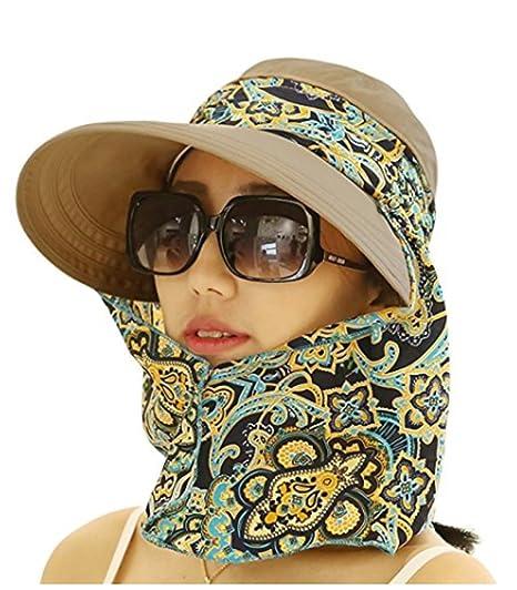 0b99939a8d59e6 JOYEBUY Women Lady Visor Hats Wide Brim Cap UV Protection Summer Sun Hats  (Brown) at Amazon Women's Clothing store: