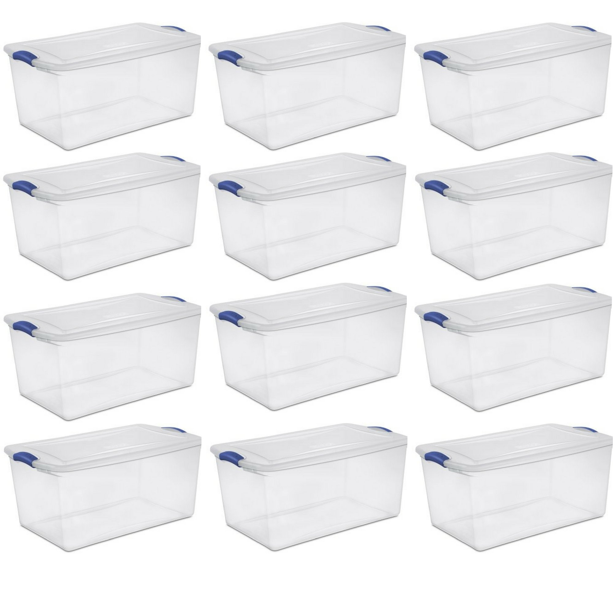 Sterilite 66 Qt./62 L Latch Box, Stadium Blue - 12 Pack