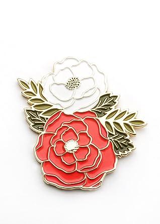30bdad9d52b Amazon.com: Floral Cluster Enamel Lapel Pin, Flower Enamel Pin, Cute ...