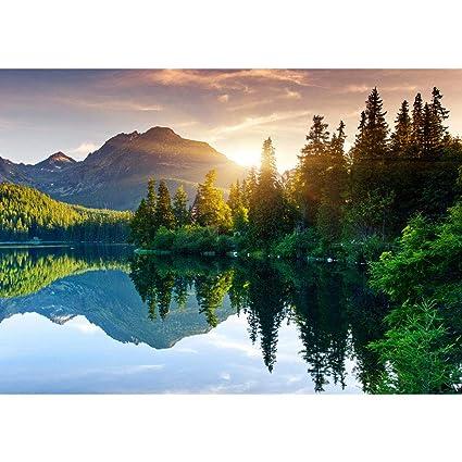 Photo Wallpaper Mountain Lake Sunset Romantic 1181w By 826h 300x210cm Non Woven Premium Plus Mountain Lake View Wall Decor Photo Wall