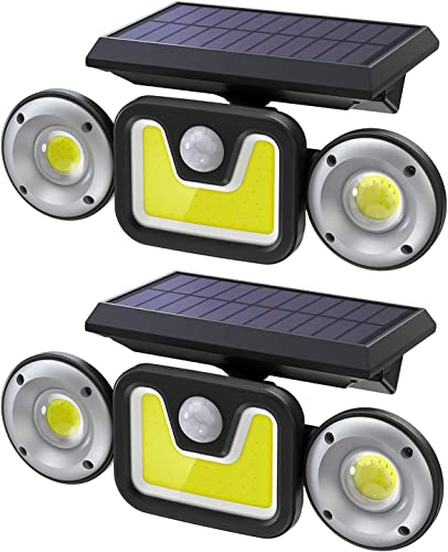 Ltteny Solar Lights Outdoor, 82COB LED Motion Sensor Security Lights with 3 Modes, IP65 Waterproof Upgraded Flood Lights, Wireless Wall Lights Security Lights 800LM for Garden Patio Garage, 2 Pack
