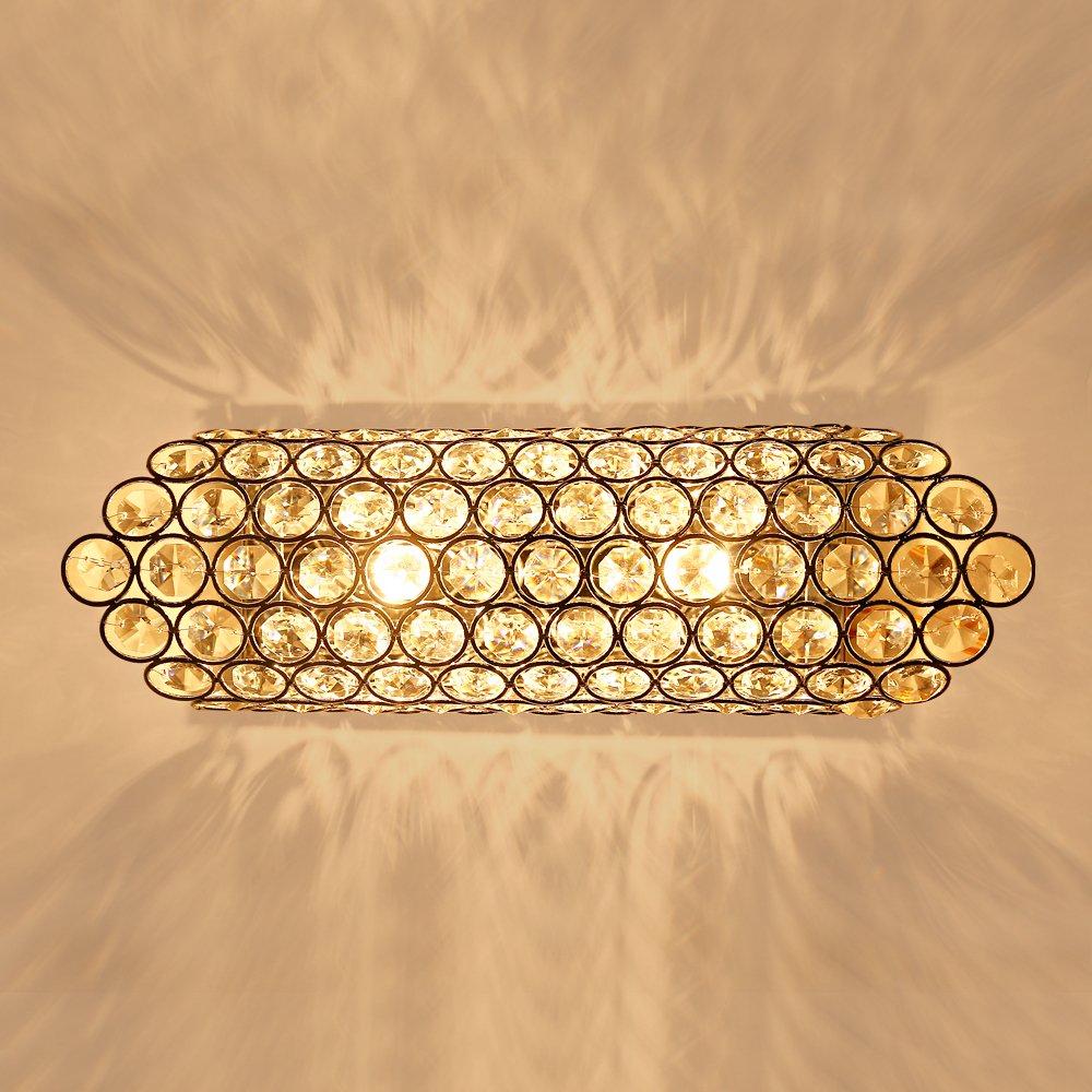 SPARKSOR Modern Luxury Crystal Wall Light Chrome Finish Wall Sconce Lighting Fixture 2xG9 2-Lights (Silver)
