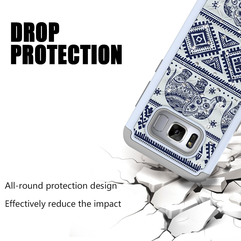 S8 Case, MagicSky [Shock Absorption] Studded Rhinestone Bling Hybrid Dual Layer Armor Defender Protective Case Cover For Samsung Galaxy S8 ((Elephant)