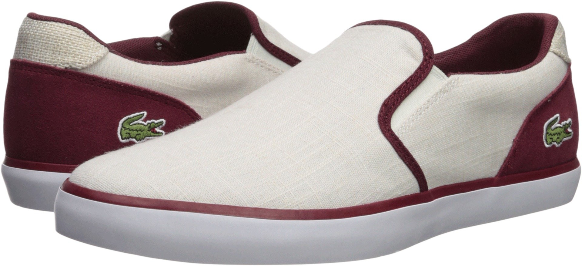 Lacoste Men's Jouer Slip on Sneaker, White Canvas, 12 M US