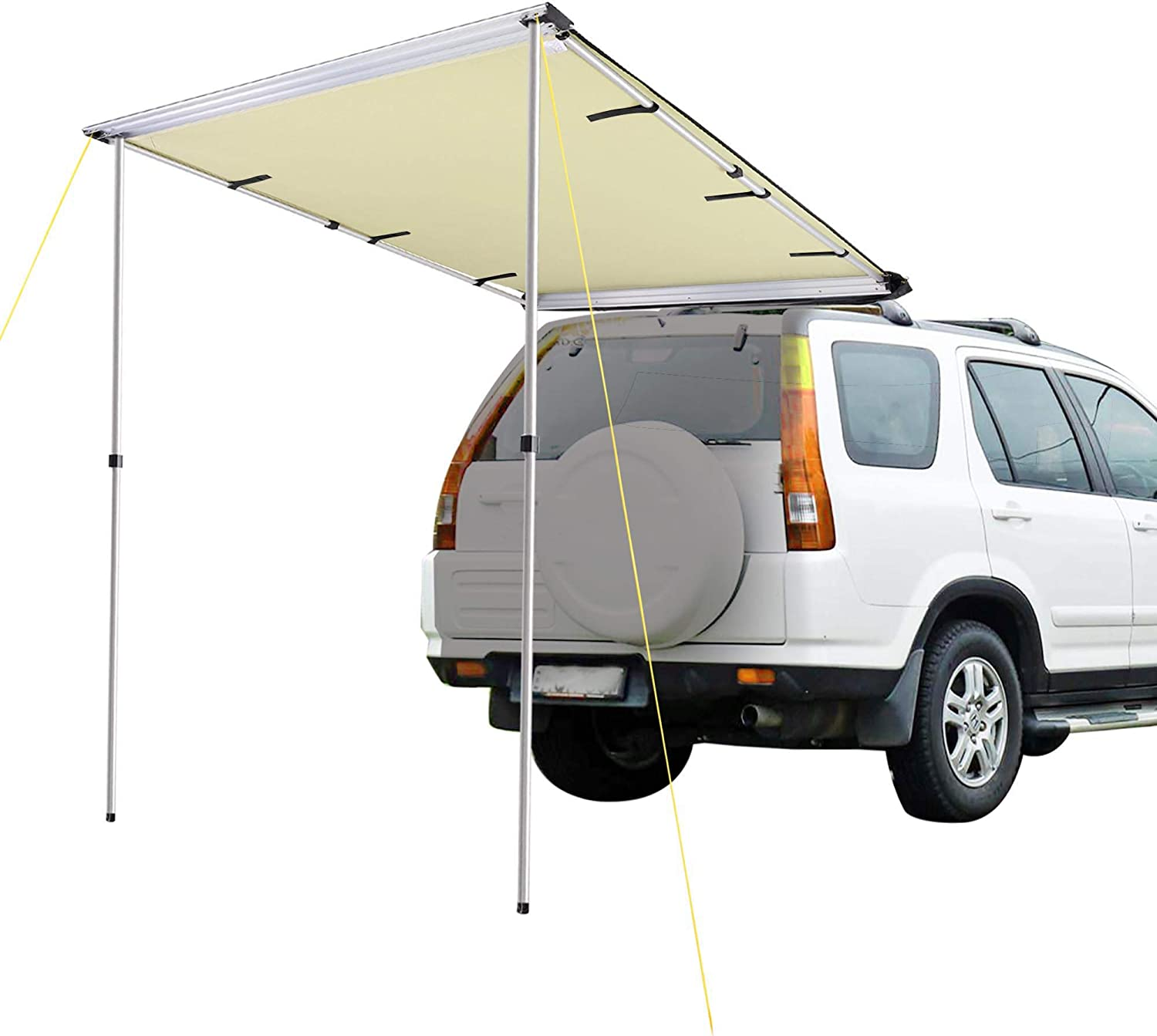 7.6x8.2/' Car Side Awning Rooftop Tent Sun Shade SUV Outdoor Camping Travel Beige