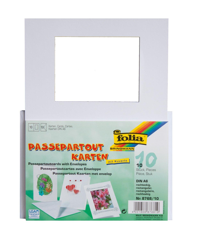 Folia 8768/10rettangolare cut-out Confezione di 10biglietti con passepartout, Bianco Max Bringmann
