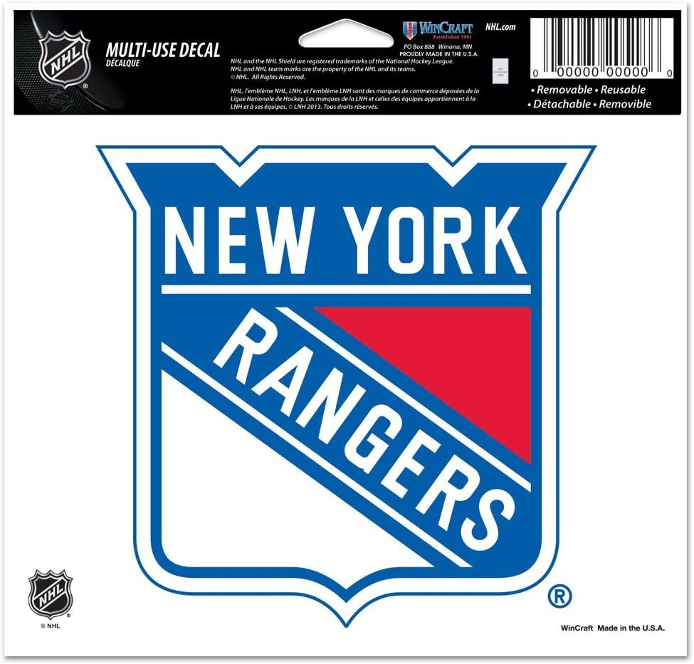 """WinCraft NHL New York Rangers Multi-Use Colored Decal, 5"""" x 6"""""""