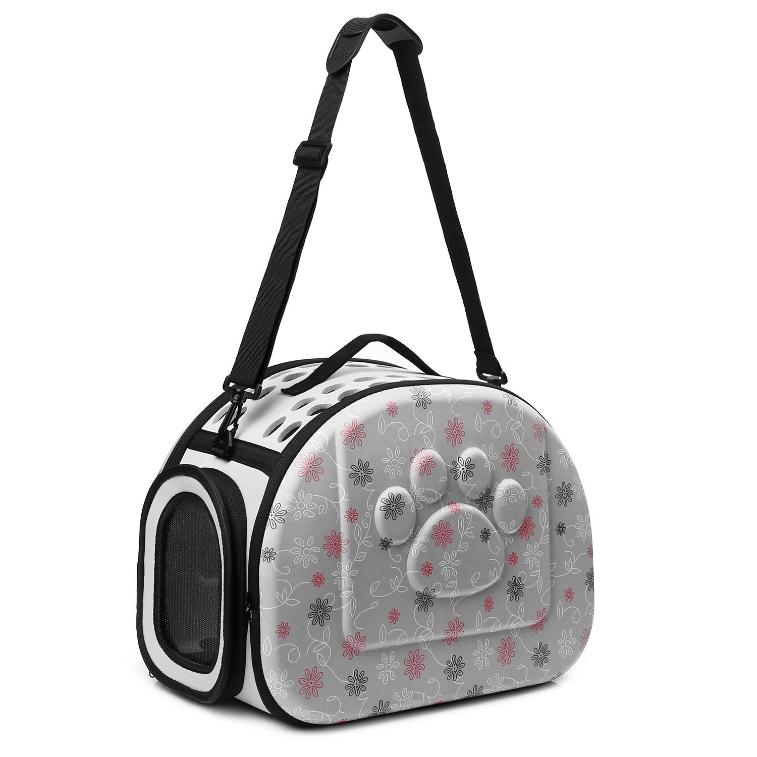 CORALTEA EVA Cute Portable Collapsible for Pets of Medium Size Cats & Dogs Airline Approved Outdoor Under Seat Travel Pet Carrier Soft Sided Puppy Bag (gray) by Coraltea (Image #1)