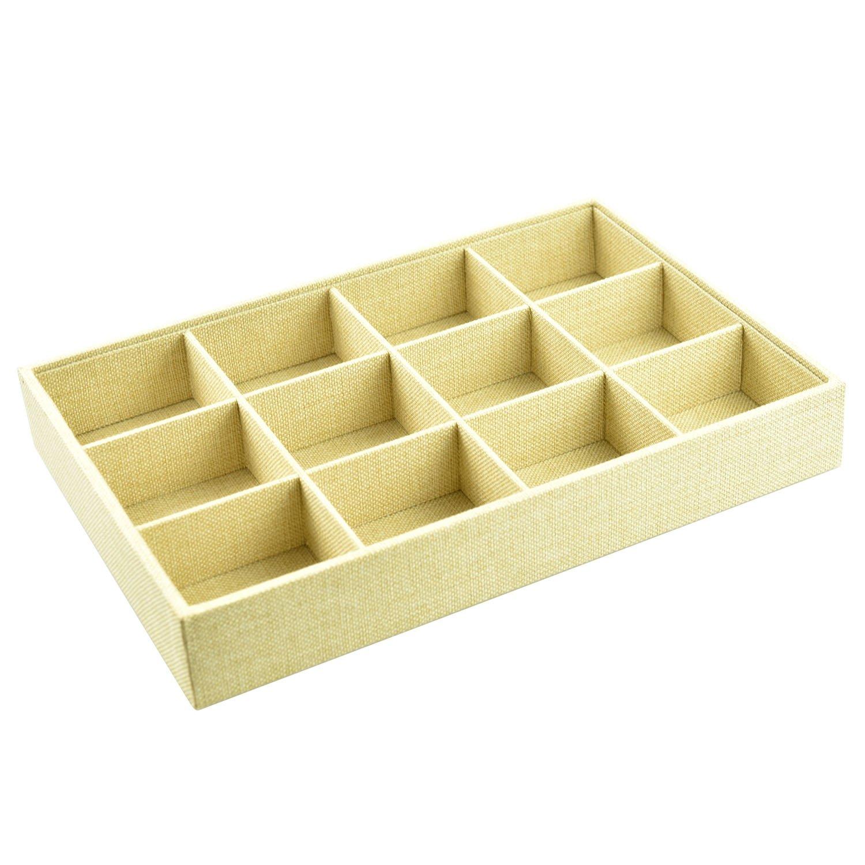 Argositment 12 Grids Linen Jewelry Display Boxes 13 7//9 x 9 4//9 x 2