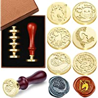 Wax Seal Stamp Set, 6 Pieces Sealing Wax Stamps Copper Seals 1 Wooden Handle, Wax Stamp Kit for Cards Envelopes…
