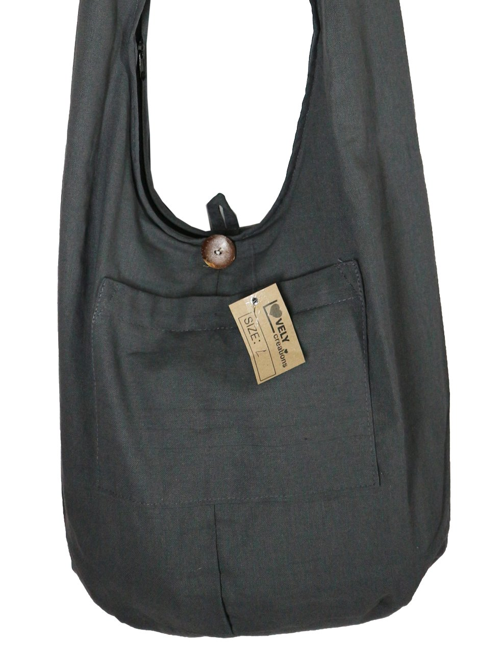 Lovely Creations's Thai Monk Buddha Cotton Sling Crossbody Messenger Bag Purse Hippie Hobo Shoulder Bag (NN Gray) by Lovely Creations (Image #1)