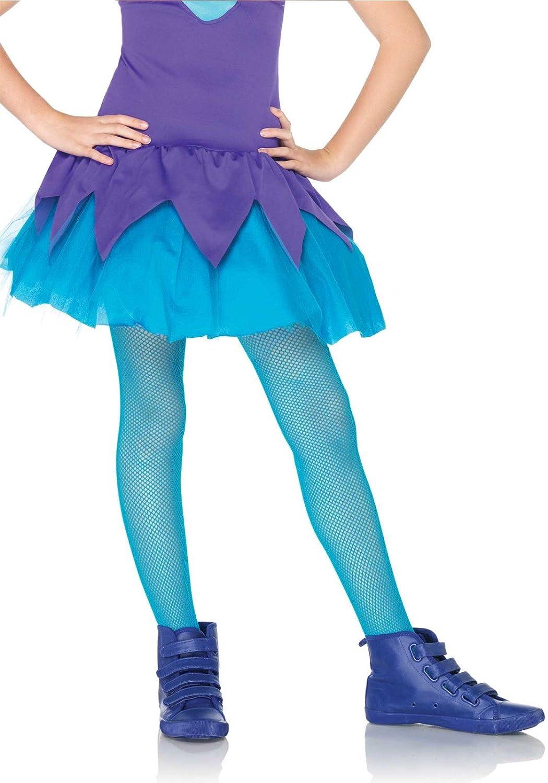 Leg Avenue Girls Fishnet Tights, Large, Neon Blue 4067 02803