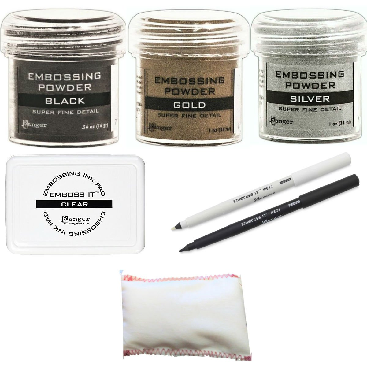 Embossing Kit Bundle - 3 Ranger Super Fine Embossing Powder, 1 Bye Bye Static Pad, 1 Ranger Emboss It Foam Pad and Two Emboss It Pens Black and Clear
