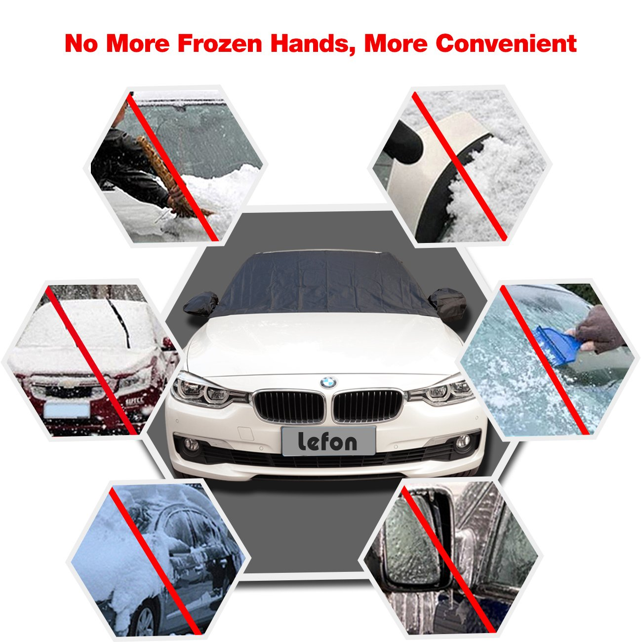 Lefon Windshield Snow Cover Magnetic Car Snow Cover Mirror Covers Automobiles 84.6x49.2 84.6x49.2 Design Protects Windshield Wipers from Snow Ice Frost Build Up Ice Frost Build Up