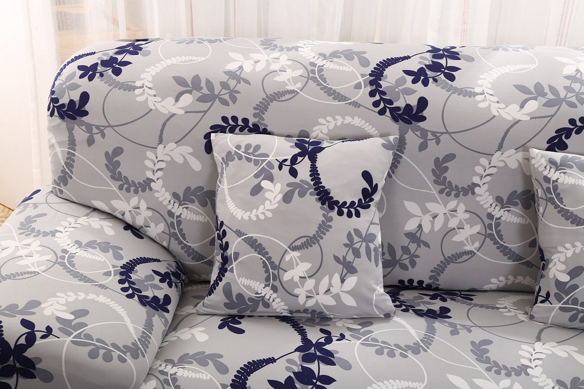 Unimall Sofa Cover Pastoral Style 1/2 Seater Slipcover Easy Stretch Elastic Fabric Sofa Protector Floral Print Slip Cover Washable (90x140)