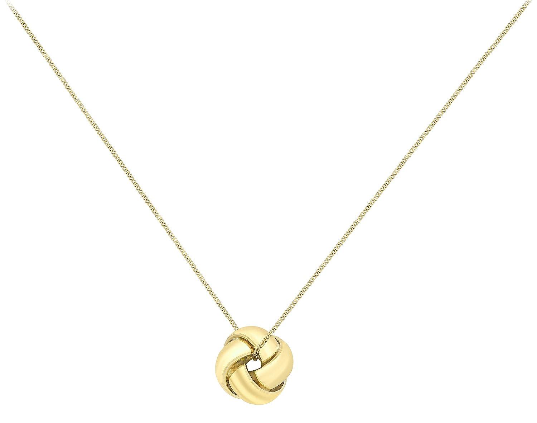 Genuine 9ct White Gold 4 Way Knot Pendant on 20PG Diamond Cut Curb Chain 46cm/18' dyjGlW4Vn