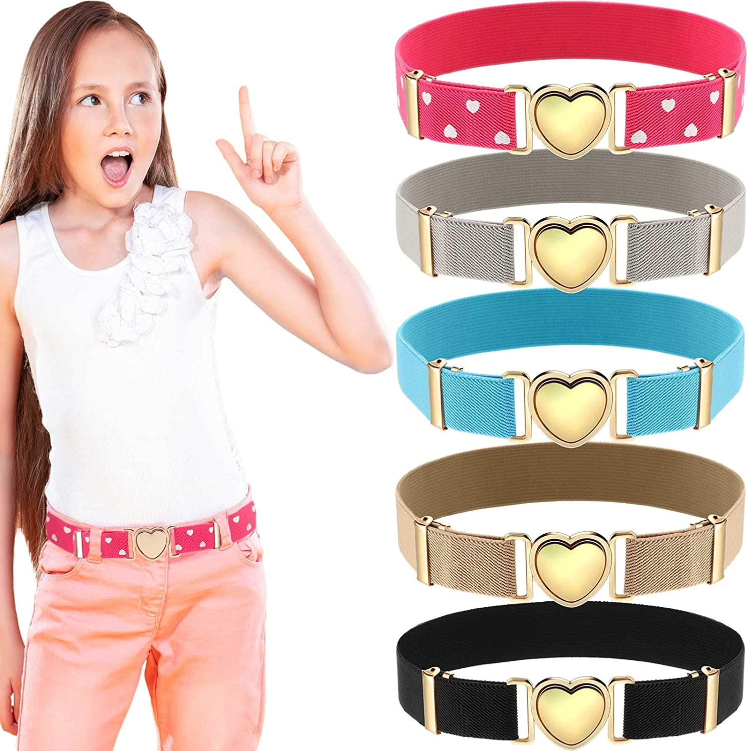 5 Pieces Elastic Stretch Belts for Girls Little Toddler Teen Kids Adjustable Uniform Belt Heart Belt