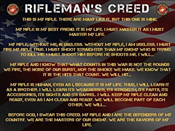 Amazon.com: Marines Rifleman's Creed Poster 18x24 US Marines Creed ...